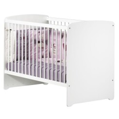 BABY PRICE Lit bébé 120x60 - 3 positions - Blanc - New Basic