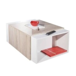 CHARLY Table basse transformable style contemporain blanc et décor chêne - L 120 x l 38,5 cm