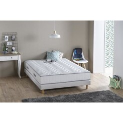 DEKO DREAM Ensemble matelas + sommier 140 x 190 - Mousse - 19 cm - 5 zones - Ferme - MAINE