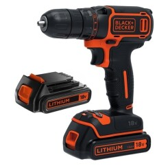 BLACK & DECKER Perceuse-visseuse sans fil BDCD18B - 18V - 1,5 Ah - 2 batteries et chargeur 200 mA inclus