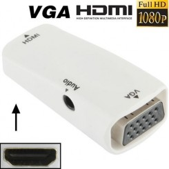 (#23) Full HD 1080P HDMI Female to VGA and Audio Adapter for HDTV / Monitor / Projector(White)