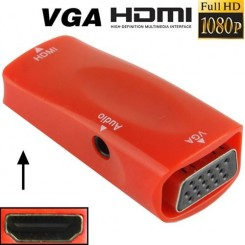 (#23) Full HD 1080P HDMI Female to VGA and Audio Adapter for HDTV / Monitor / Projector(Red)