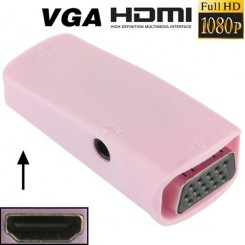 (#23) Full HD 1080P HDMI Female to VGA and Audio Adapter for HDTV / Monitor / Projector(Pink)