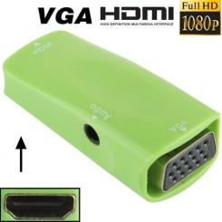 (#23) Full HD 1080P HDMI Female to VGA and Audio Adapter for HDTV / Monitor / Projector(Green)