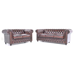 Canapé 3 et 2 places en cuir Chesterfield Orginal Antique