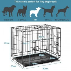 19-inch(S)Double Doors Metal Dog Crate Two Door Folding Dog Kennel Cage à chien pliante Montage facile Wire Mesh Pet Cage pour chien
