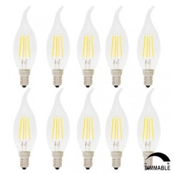 10X Ampoules LED Dimmable Filament E14 4W C35 Flame Vintage Edison Ampoule - Blanc Chaud 2700K - AC220V - Dimension: 35x116mm
