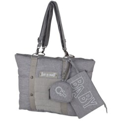 Baby on board -sac à langer - sac citizen stone chiné- format compact - compartiment central avec 4 poches - grand compartiment repa