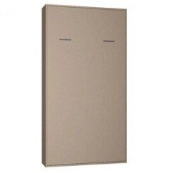 Armoire lit escamotable smart-v2 taupe mat couchage 90*200 cm.