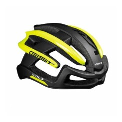 Casque velo adulte gist route volo noir mat-jaune fluo full in-mold taille 56-62 reglage molette 210grs