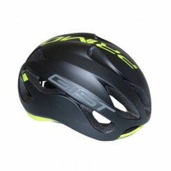 Casque velo adulte gist route primo noir mat-jaune fluo full in-mold taille 52-57 reglage molette 250grs