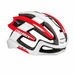 Casque velo adulte gist route volo blanc-rouge brillant full in-mold taille 56-62 reglage molette 210grs