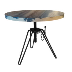 DIESEL WITH MOROSO table basse OVERDYED SIDE TABLE (Weathered Grey / Raw black - MDF plaqué frêne et acier)
