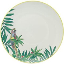 ,Collection Perroquet,18Pcs, Service De Table En Porcelaine, 6 Assiettes Plates D27Cm, 6 Assiettes À Dessert D19Cm, 6 Assiettes Creu