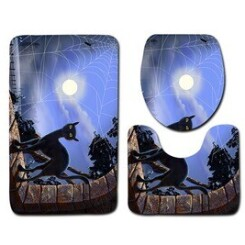 Halloween chat noir siège de toilette couverture et tapis de bain ensemble décor halloween bathroom mats 841
