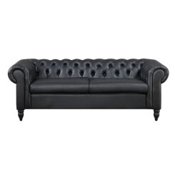 Canapé Chesterfield 3 places noir Winston