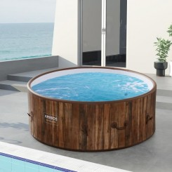 AREBOS Piscine Spa Pool - Gonflable - Chauffage - Exterieur - Ronde Drop-Stitch
