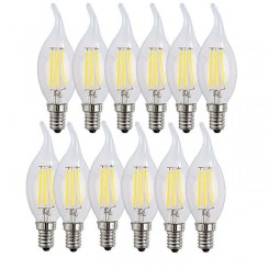 12X E14 Forme Bougie LED 4W Filament Ampoule LED Lampe Blanc Froid 6500k e14 Flame Tip Bright Lampe 400LM Non Dimmable AC220-240V