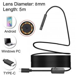 (#60) USB-C / Type-C Endoscope Waterproof Tube Inspection Camera with 8 LED & USB Adapter, Length: 5m, Lens Diameter: 8mm
