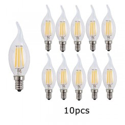 10X E14 Forme Bougie LED 4W Filament Ampoule LED Lampe Blanc Chaud 2700k Flame Tip Bright Lampe 400LM Non Dimmable AC220-240V
