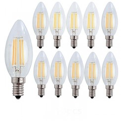 10X E14 Forme Bougie LED 4W Filament Ampoule LED Lampe Blanc Chaud 2700k Flame E27 Lampe 400LM Non Dimmable AC220-240V