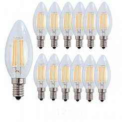 12X E14 Forme Bougie LED 4W Filament Ampoule LED Lampe Blanc Chaud 2700k Lampe 400LM Non Dimmable AC220-240V