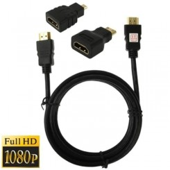 (#23) 3 in 1 Full HD 1080P HDMI Cable Adaptor Kit (1.5m HDMI Cable + HDMI to Mini HDMI Adaptor + HDMI to Micro HDMI Adaptor)
