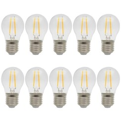 10X Ampoules LED E27 2W Edison Filament LED Ampoule Retro Économie d'énergie - Blanc Chaud 2700K - AC220V - Dimension: 45x80mm